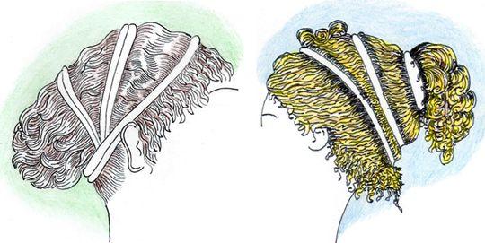 6) Un assez grand pourcentage de chevelures étaient coiffées vaguées sur larrière, certaines avec un volume autour de la tête, dautre avec un volume sur