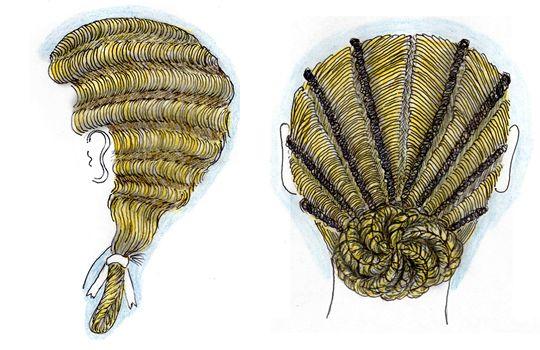 Coiffure Epoque Faustine mére,138/161, la coiffure présente dans sa partie  avant des crans larges plats dans un sens presque vertical, ils sont  coiffés sur